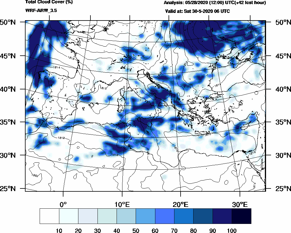 Total cloud cover (%) - 2020-05-30 00:00