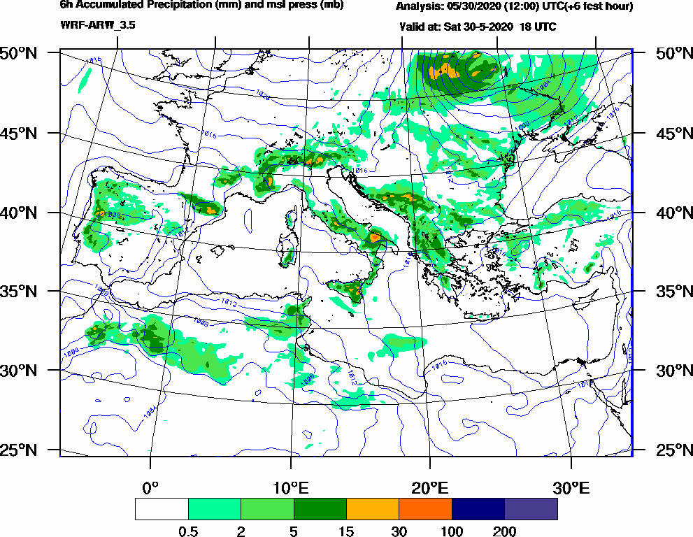 6h Accumulated Precipitation (mm) and msl press (mb) - 2020-05-30 12:00