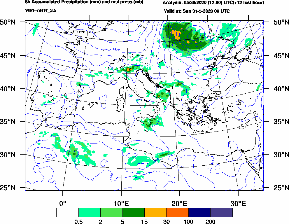 6h Accumulated Precipitation (mm) and msl press (mb) - 2020-05-30 18:00