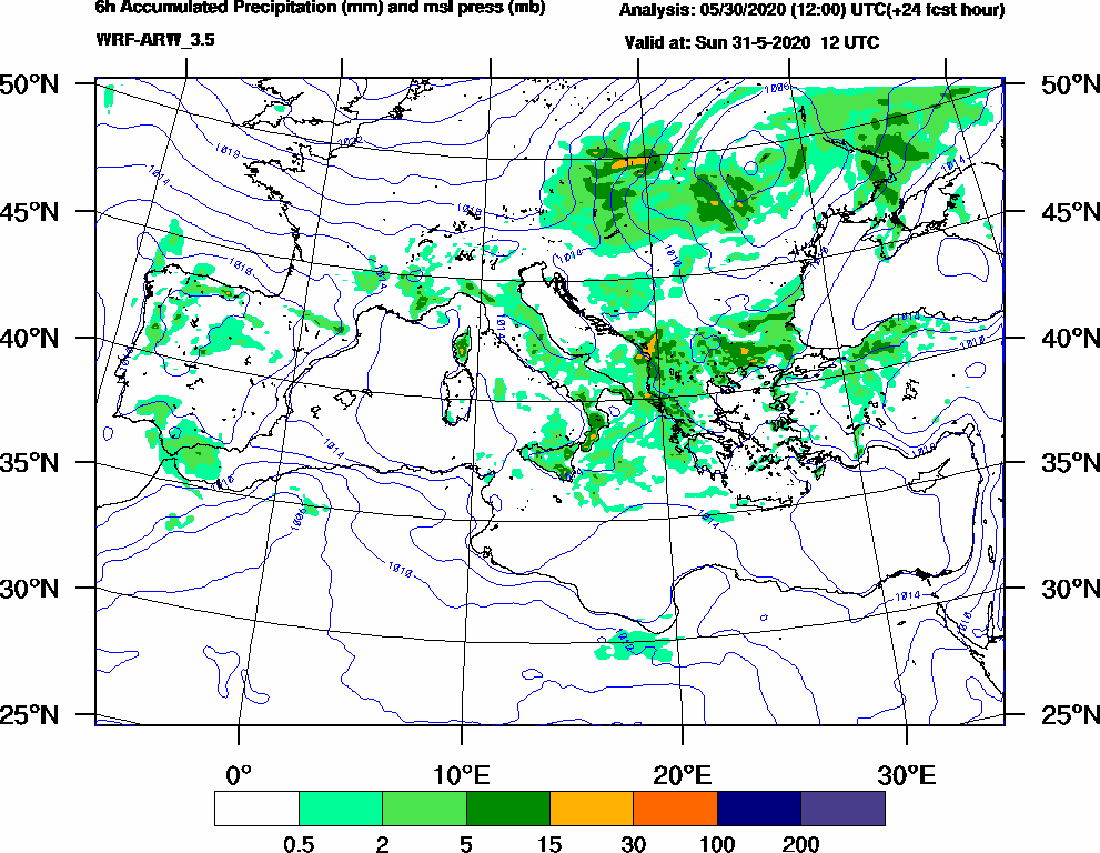 6h Accumulated Precipitation (mm) and msl press (mb) - 2020-05-31 06:00