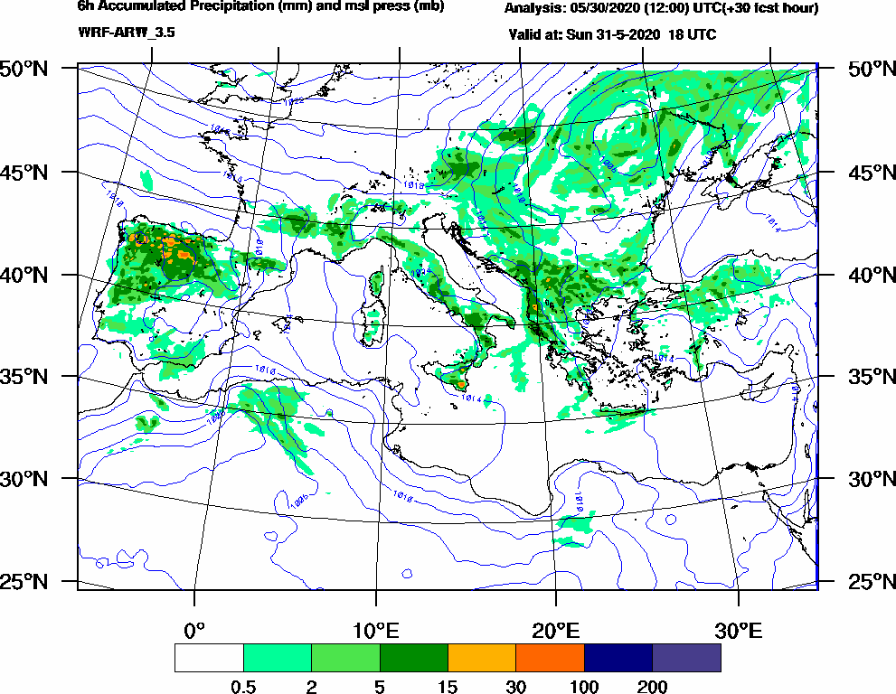 6h Accumulated Precipitation (mm) and msl press (mb) - 2020-05-31 12:00