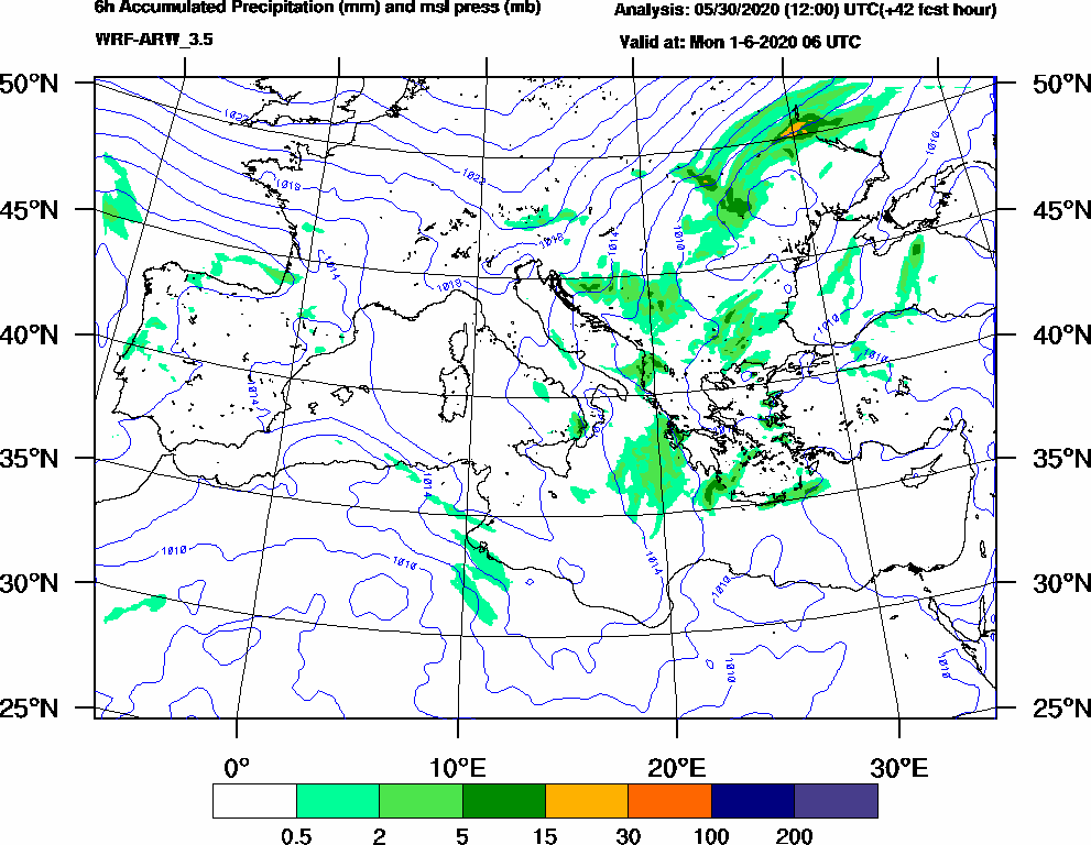 6h Accumulated Precipitation (mm) and msl press (mb) - 2020-06-01 00:00