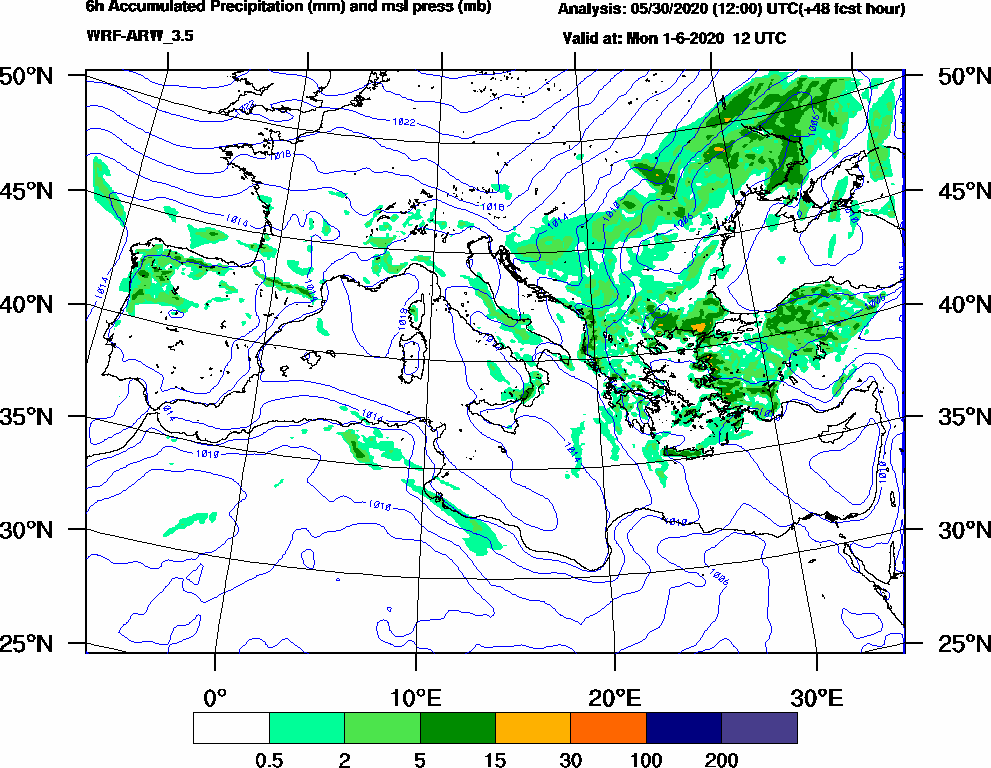 6h Accumulated Precipitation (mm) and msl press (mb) - 2020-06-01 06:00