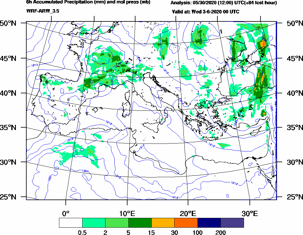 6h Accumulated Precipitation (mm) and msl press (mb) - 2020-06-02 18:00
