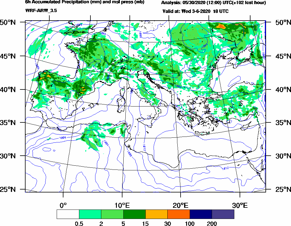 6h Accumulated Precipitation (mm) and msl press (mb) - 2020-06-03 12:00