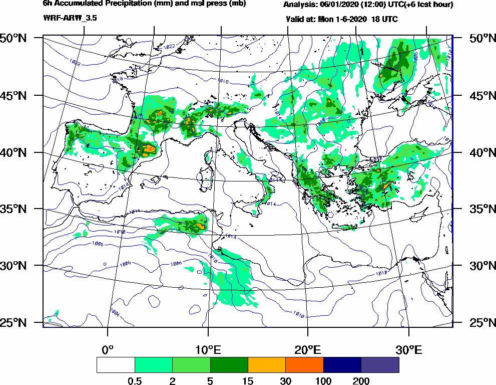 6h Accumulated Precipitation (mm) and msl press (mb) - 2020-06-01 12:00
