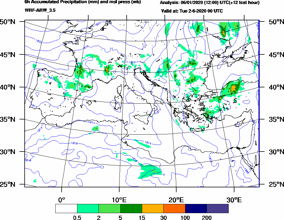 6h Accumulated Precipitation (mm) and msl press (mb) - 2020-06-01 18:00