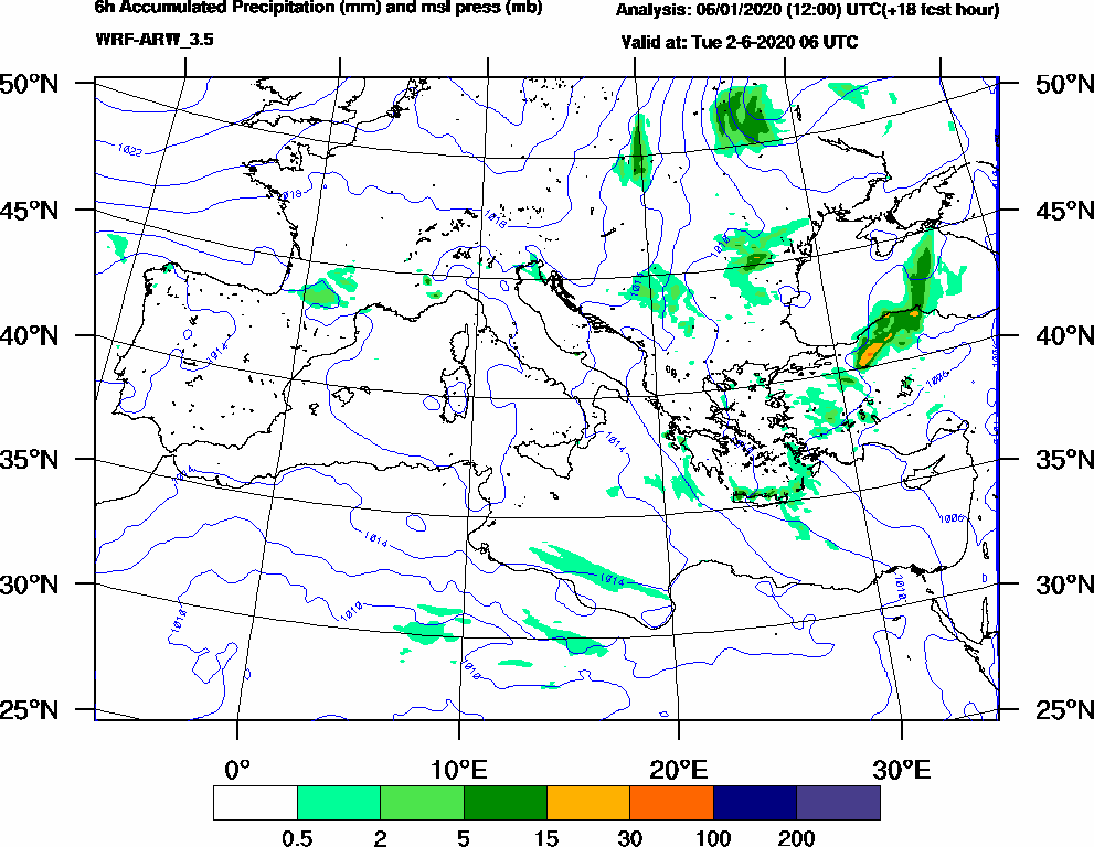 6h Accumulated Precipitation (mm) and msl press (mb) - 2020-06-02 00:00