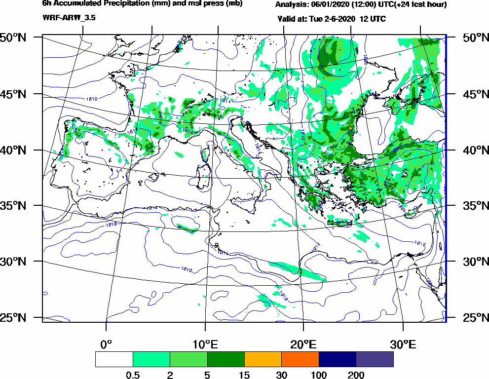 6h Accumulated Precipitation (mm) and msl press (mb) - 2020-06-02 06:00