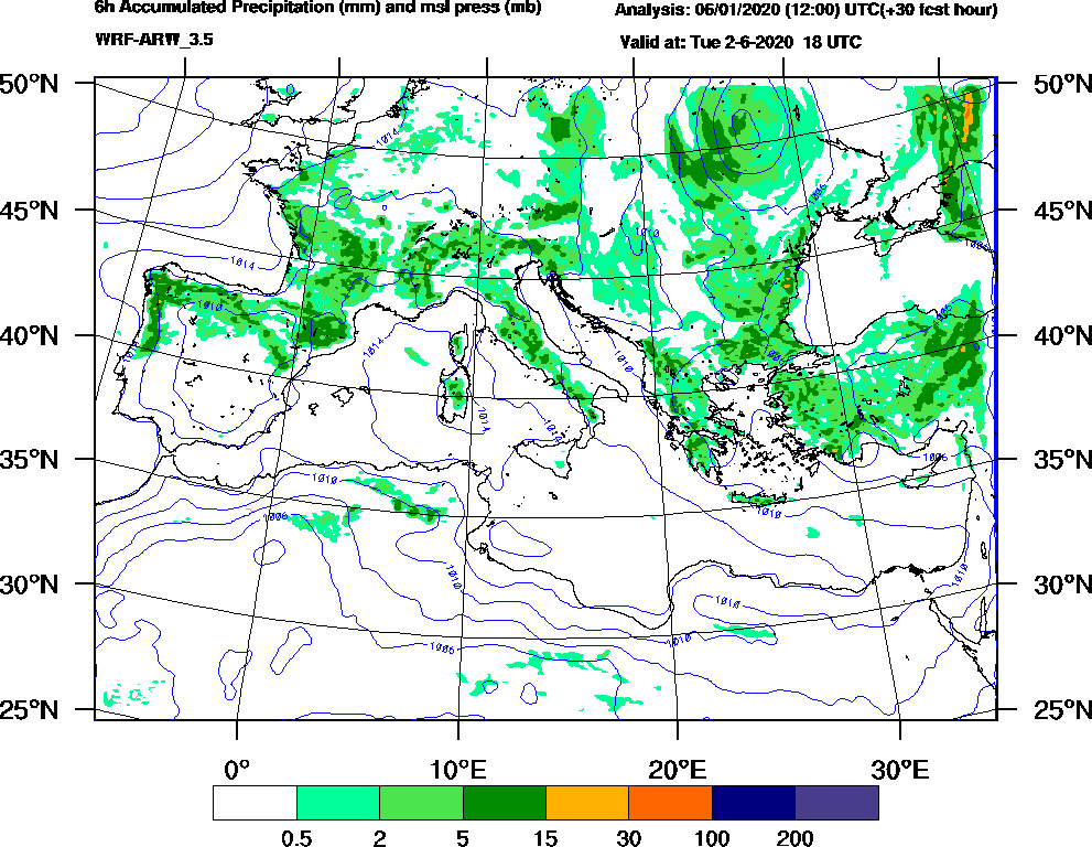 6h Accumulated Precipitation (mm) and msl press (mb) - 2020-06-02 12:00