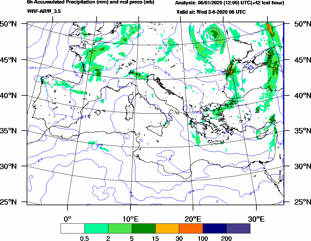 6h Accumulated Precipitation (mm) and msl press (mb) - 2020-06-03 00:00
