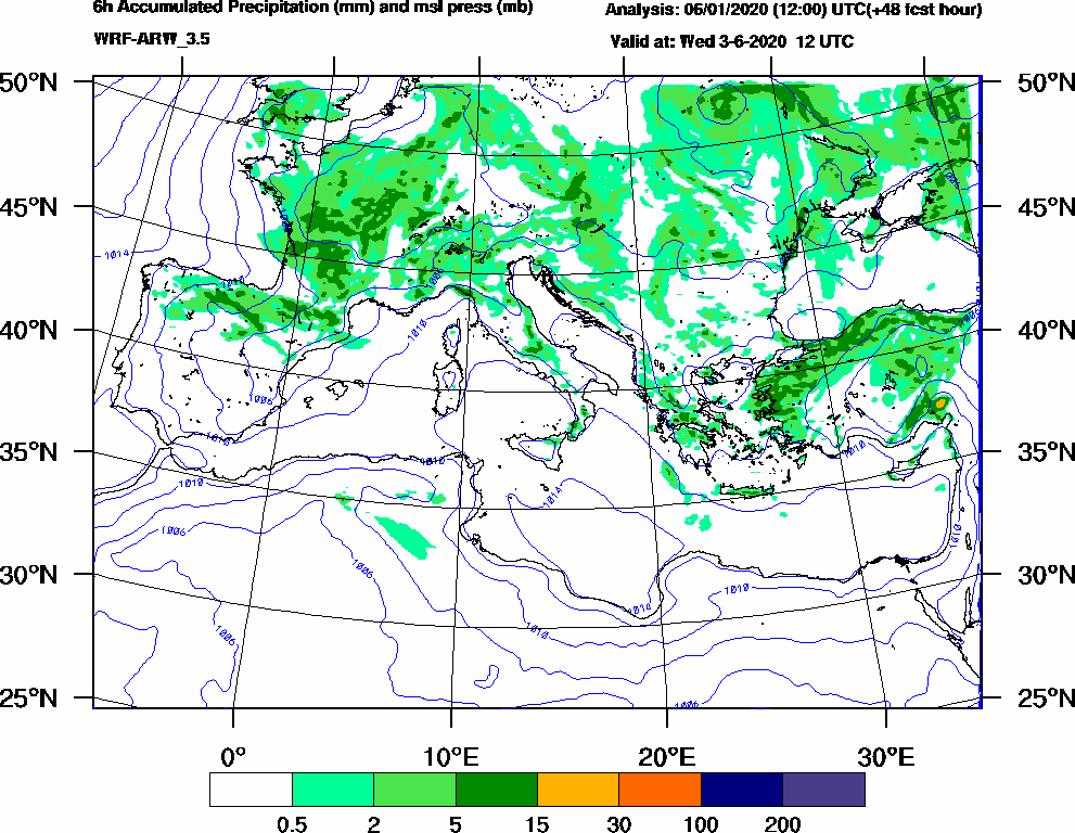 6h Accumulated Precipitation (mm) and msl press (mb) - 2020-06-03 06:00