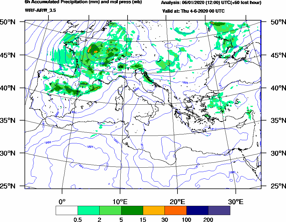6h Accumulated Precipitation (mm) and msl press (mb) - 2020-06-03 18:00