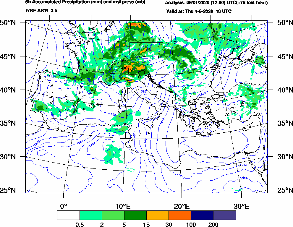 6h Accumulated Precipitation (mm) and msl press (mb) - 2020-06-04 12:00