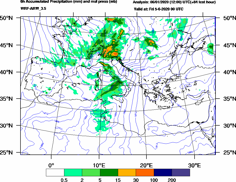 6h Accumulated Precipitation (mm) and msl press (mb) - 2020-06-04 18:00