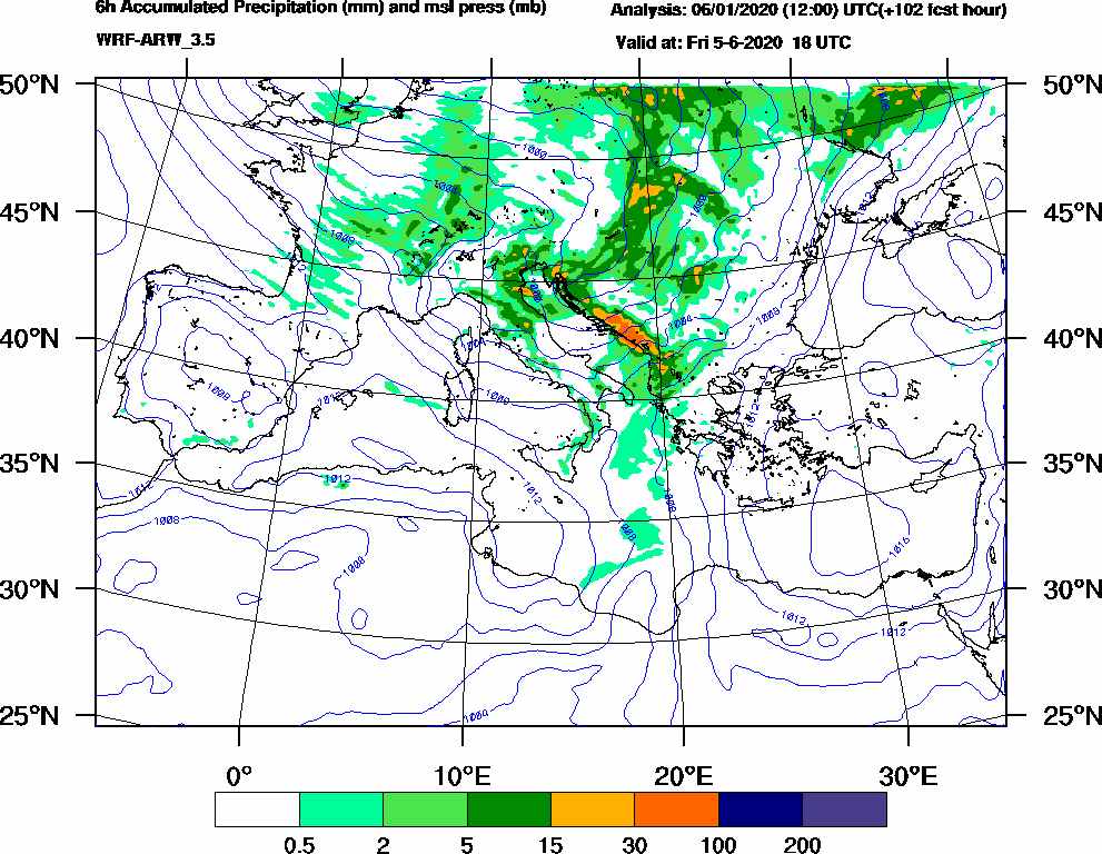 6h Accumulated Precipitation (mm) and msl press (mb) - 2020-06-05 12:00