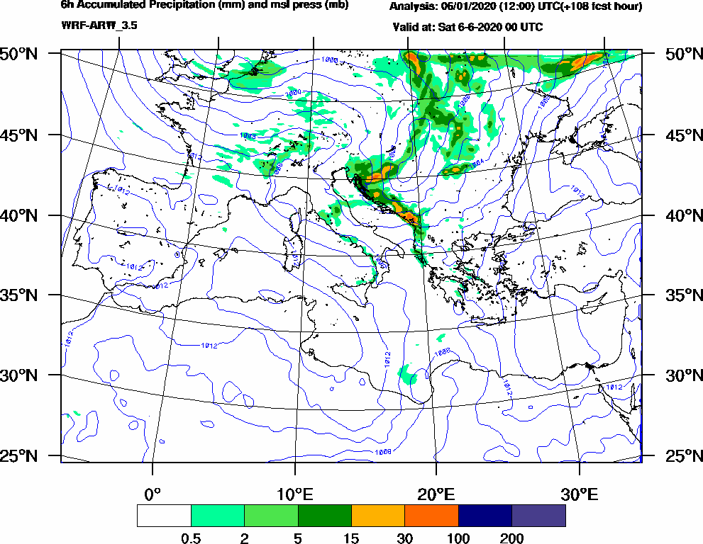 6h Accumulated Precipitation (mm) and msl press (mb) - 2020-06-05 18:00