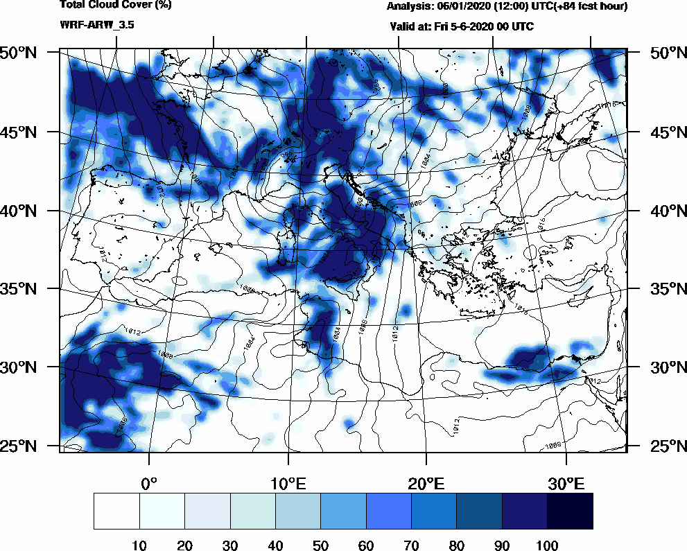 Total cloud cover (%) - 2020-06-04 18:00