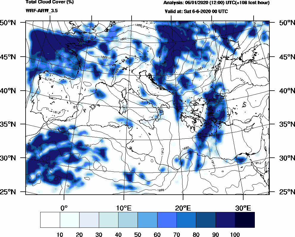 Total cloud cover (%) - 2020-06-05 18:00