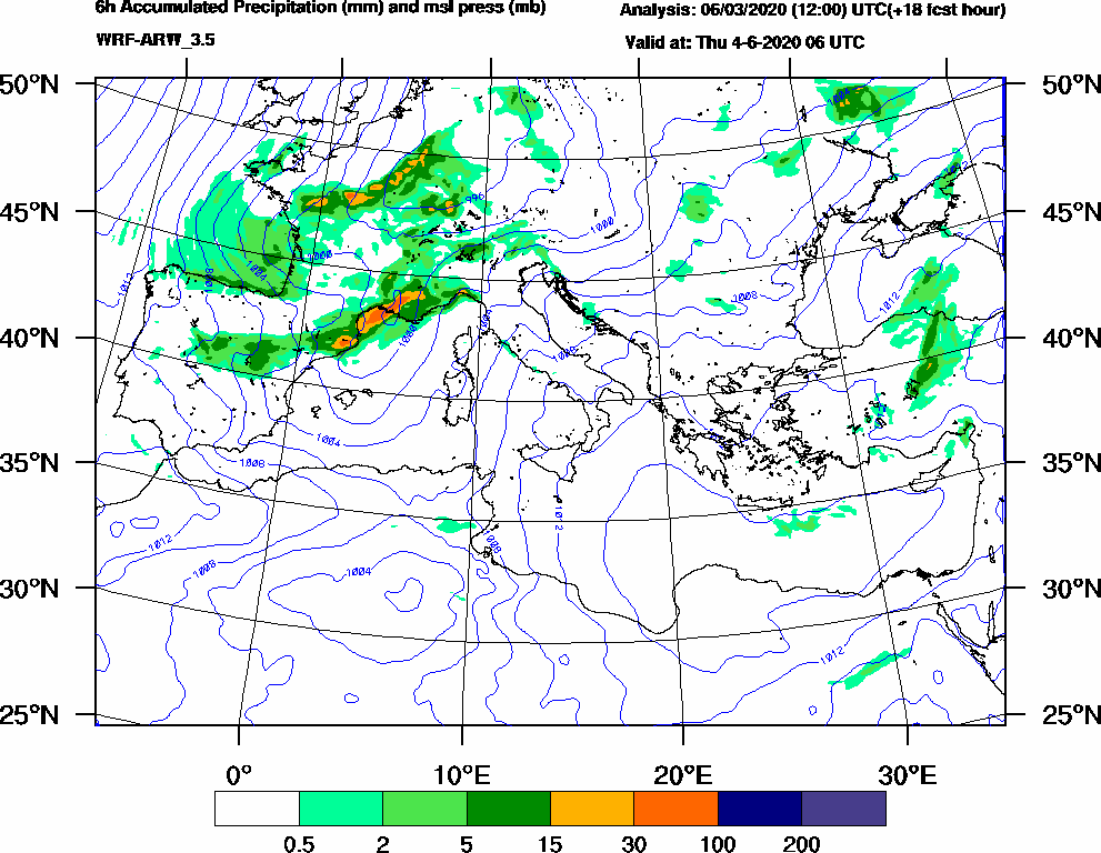 6h Accumulated Precipitation (mm) and msl press (mb) - 2020-06-04 00:00