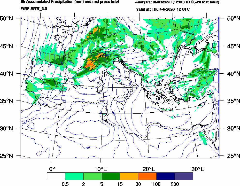 6h Accumulated Precipitation (mm) and msl press (mb) - 2020-06-04 06:00