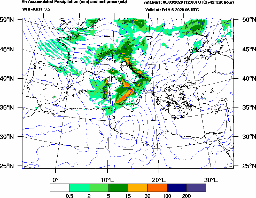 6h Accumulated Precipitation (mm) and msl press (mb) - 2020-06-05 00:00