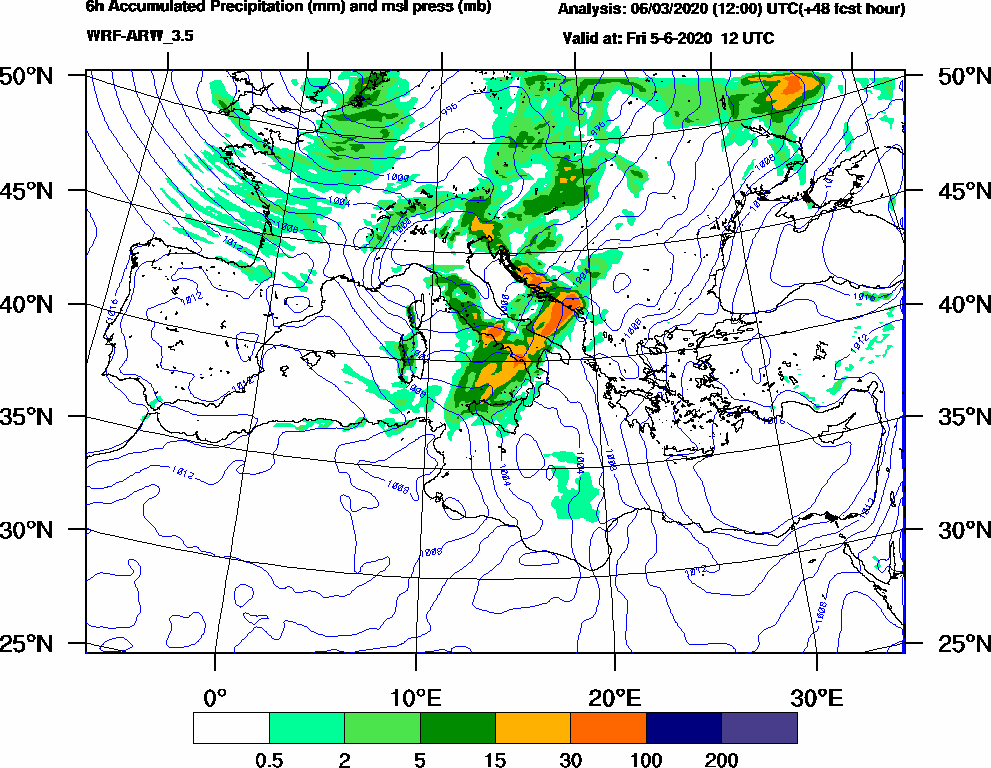6h Accumulated Precipitation (mm) and msl press (mb) - 2020-06-05 06:00