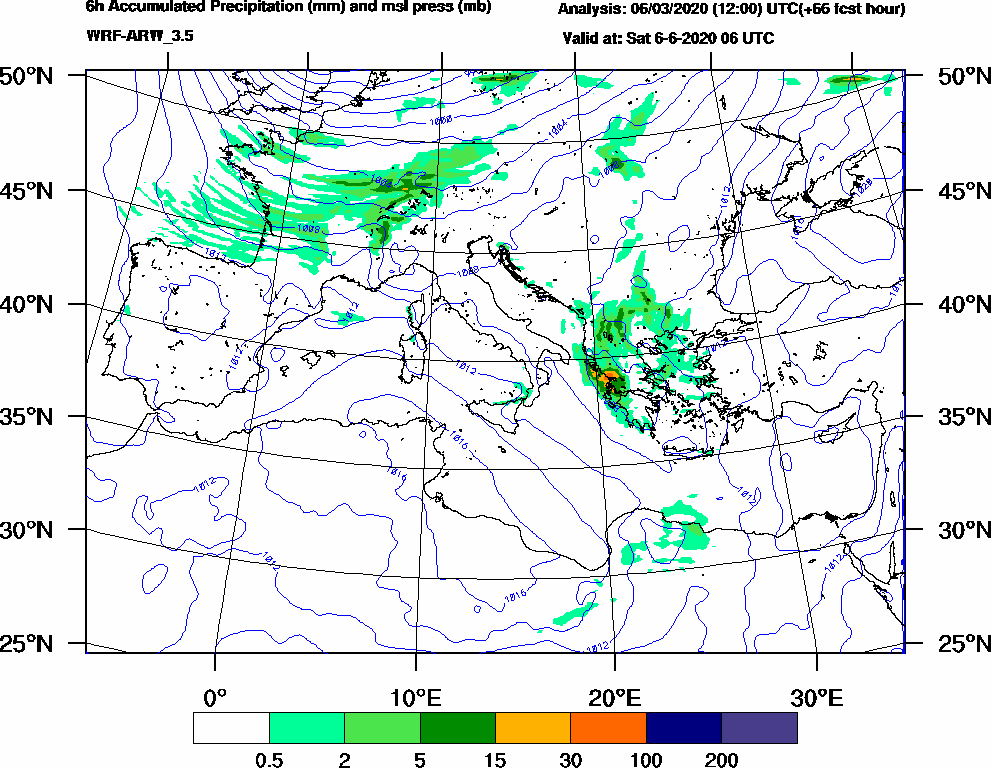 6h Accumulated Precipitation (mm) and msl press (mb) - 2020-06-06 00:00