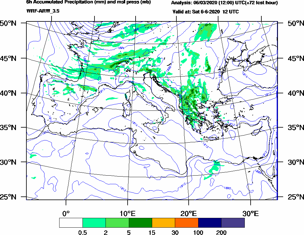 6h Accumulated Precipitation (mm) and msl press (mb) - 2020-06-06 06:00
