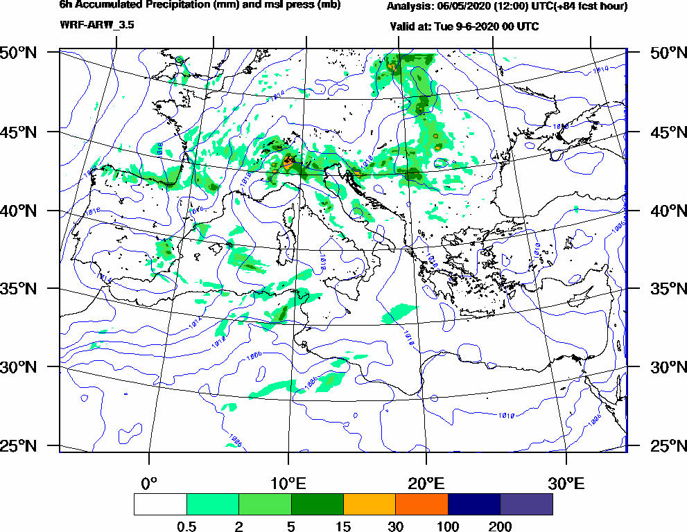 6h Accumulated Precipitation (mm) and msl press (mb) - 2020-06-08 18:00