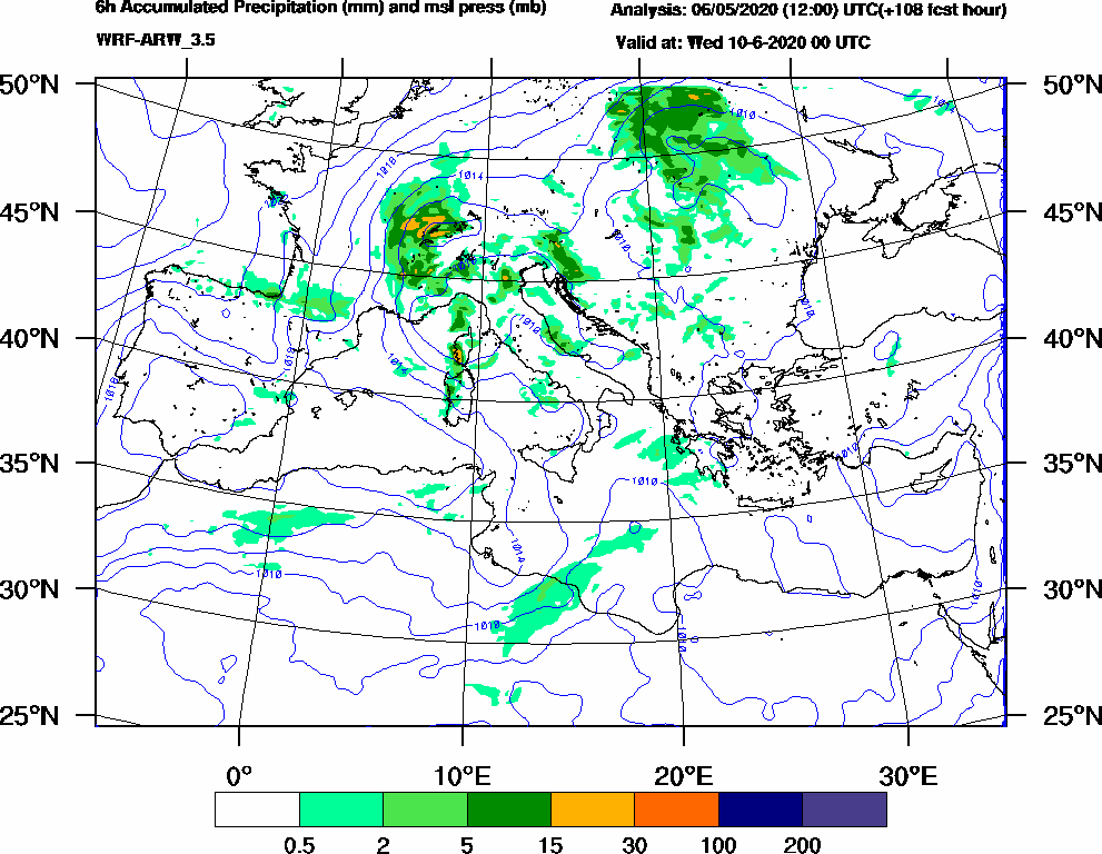 6h Accumulated Precipitation (mm) and msl press (mb) - 2020-06-09 18:00