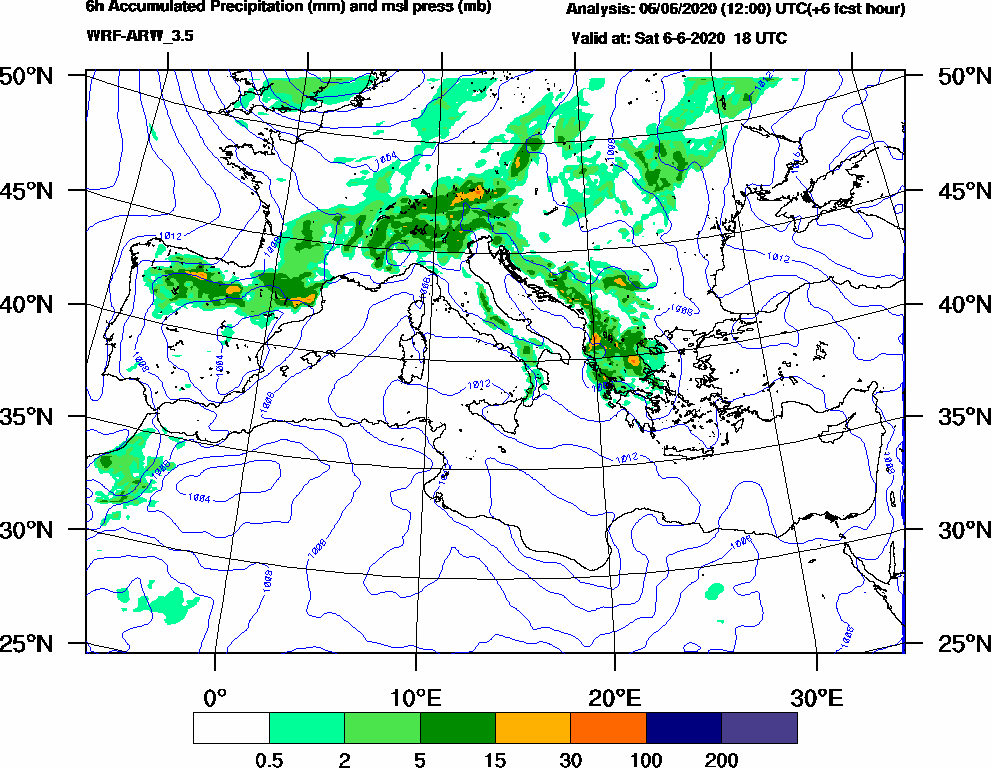 6h Accumulated Precipitation (mm) and msl press (mb) - 2020-06-06 12:00