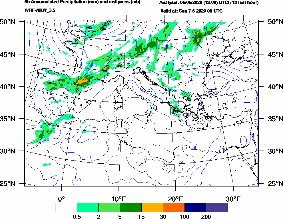 6h Accumulated Precipitation (mm) and msl press (mb) - 2020-06-06 18:00