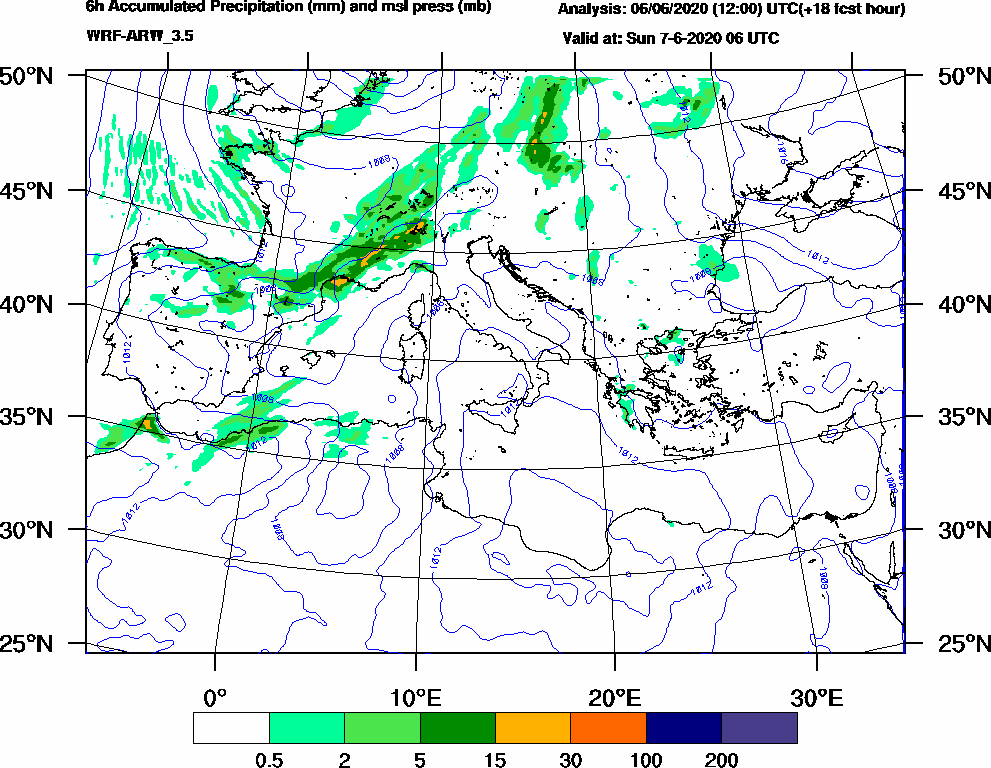 6h Accumulated Precipitation (mm) and msl press (mb) - 2020-06-07 00:00