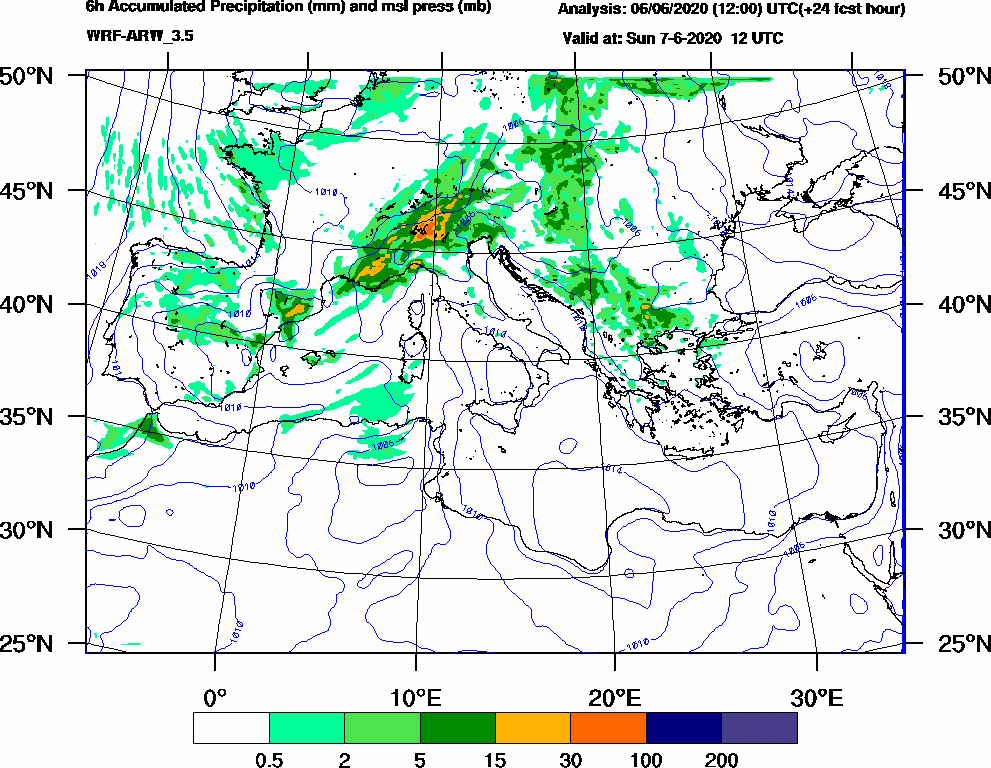 6h Accumulated Precipitation (mm) and msl press (mb) - 2020-06-07 06:00