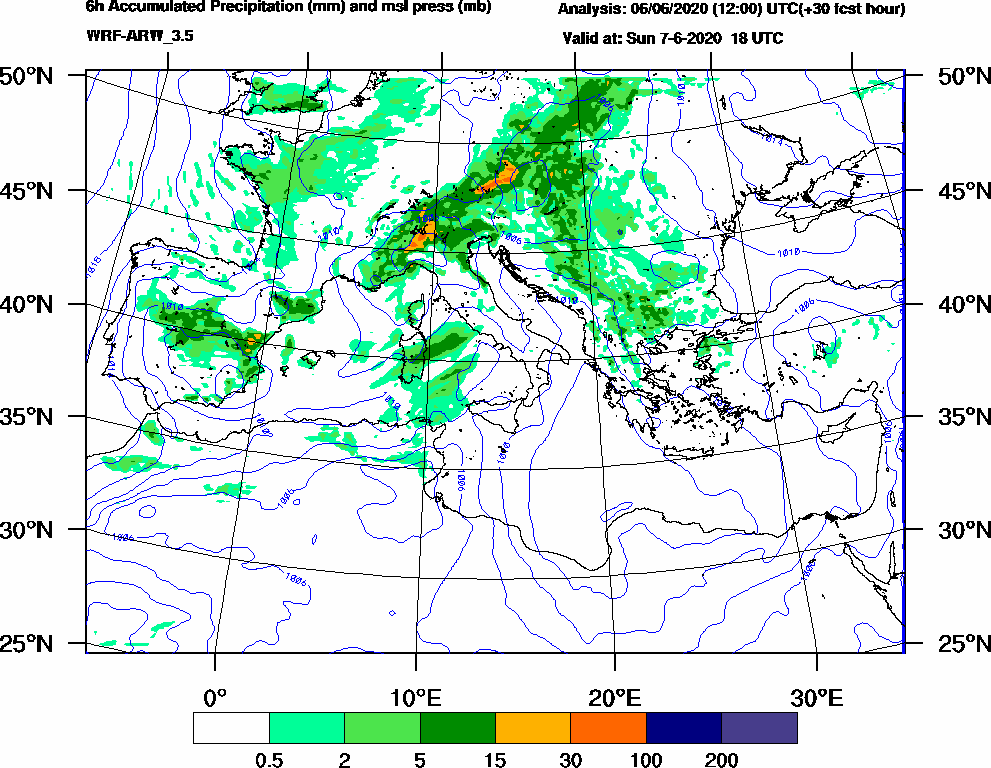 6h Accumulated Precipitation (mm) and msl press (mb) - 2020-06-07 12:00