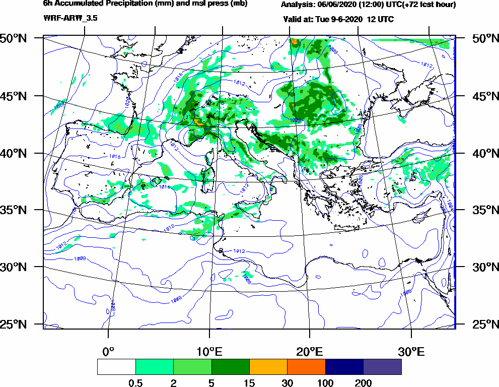 6h Accumulated Precipitation (mm) and msl press (mb) - 2020-06-09 06:00