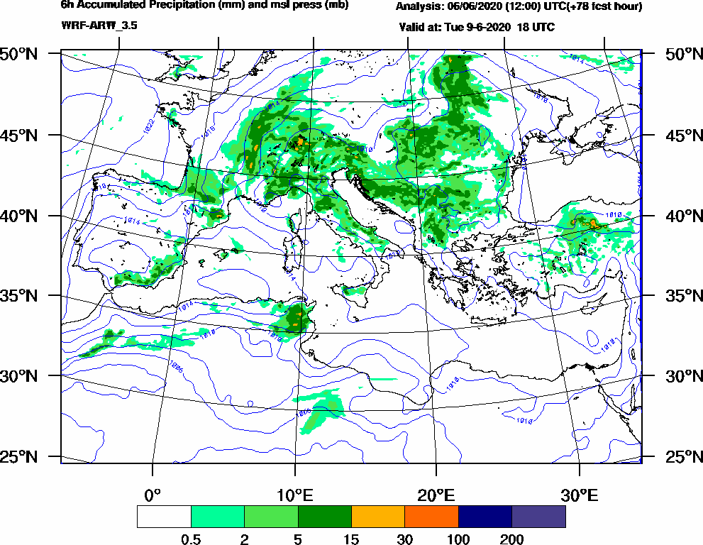 6h Accumulated Precipitation (mm) and msl press (mb) - 2020-06-09 12:00