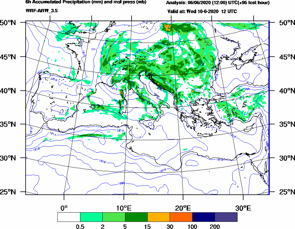 6h Accumulated Precipitation (mm) and msl press (mb) - 2020-06-10 06:00