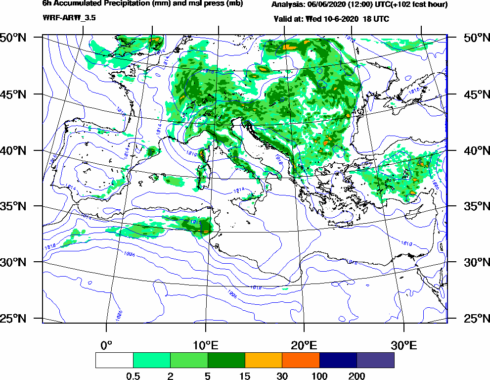 6h Accumulated Precipitation (mm) and msl press (mb) - 2020-06-10 12:00
