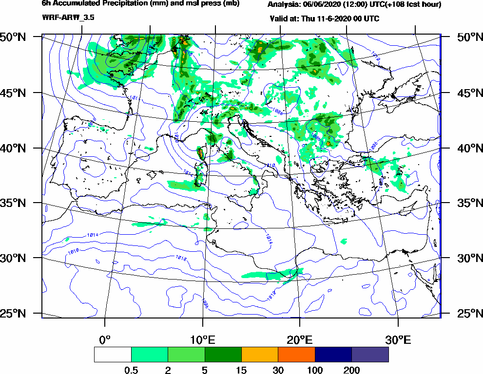 6h Accumulated Precipitation (mm) and msl press (mb) - 2020-06-10 18:00