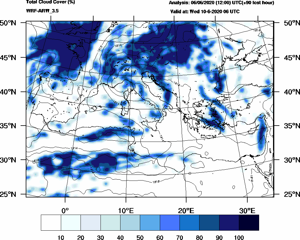 Total cloud cover (%) - 2020-06-10 00:00