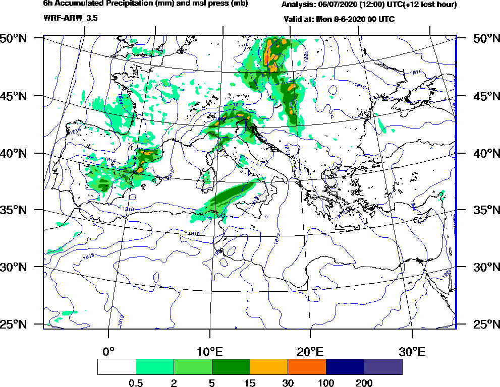 6h Accumulated Precipitation (mm) and msl press (mb) - 2020-06-07 18:00