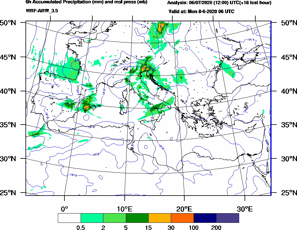 6h Accumulated Precipitation (mm) and msl press (mb) - 2020-06-08 00:00