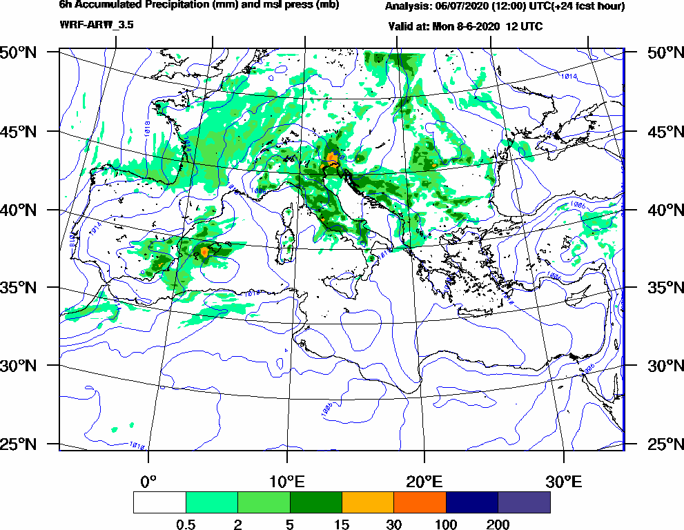 6h Accumulated Precipitation (mm) and msl press (mb) - 2020-06-08 06:00
