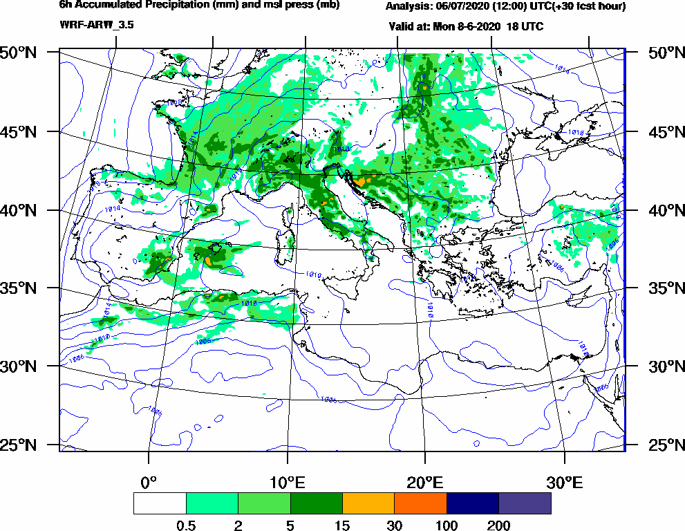 6h Accumulated Precipitation (mm) and msl press (mb) - 2020-06-08 12:00