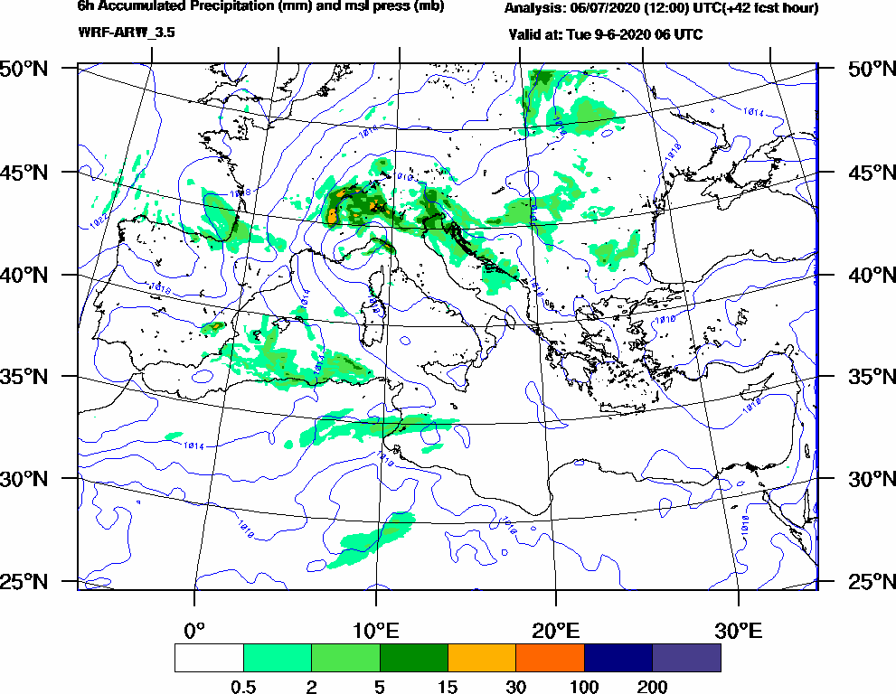 6h Accumulated Precipitation (mm) and msl press (mb) - 2020-06-09 00:00
