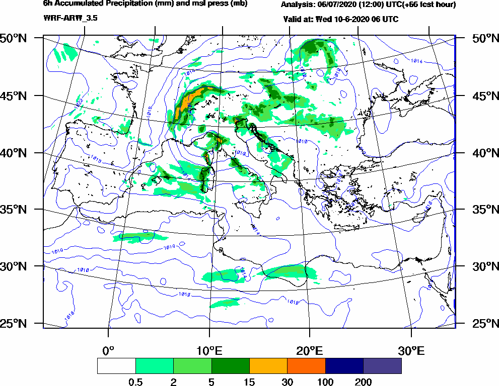 6h Accumulated Precipitation (mm) and msl press (mb) - 2020-06-10 00:00