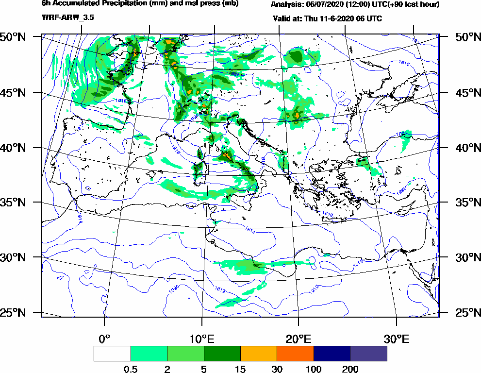 6h Accumulated Precipitation (mm) and msl press (mb) - 2020-06-11 00:00