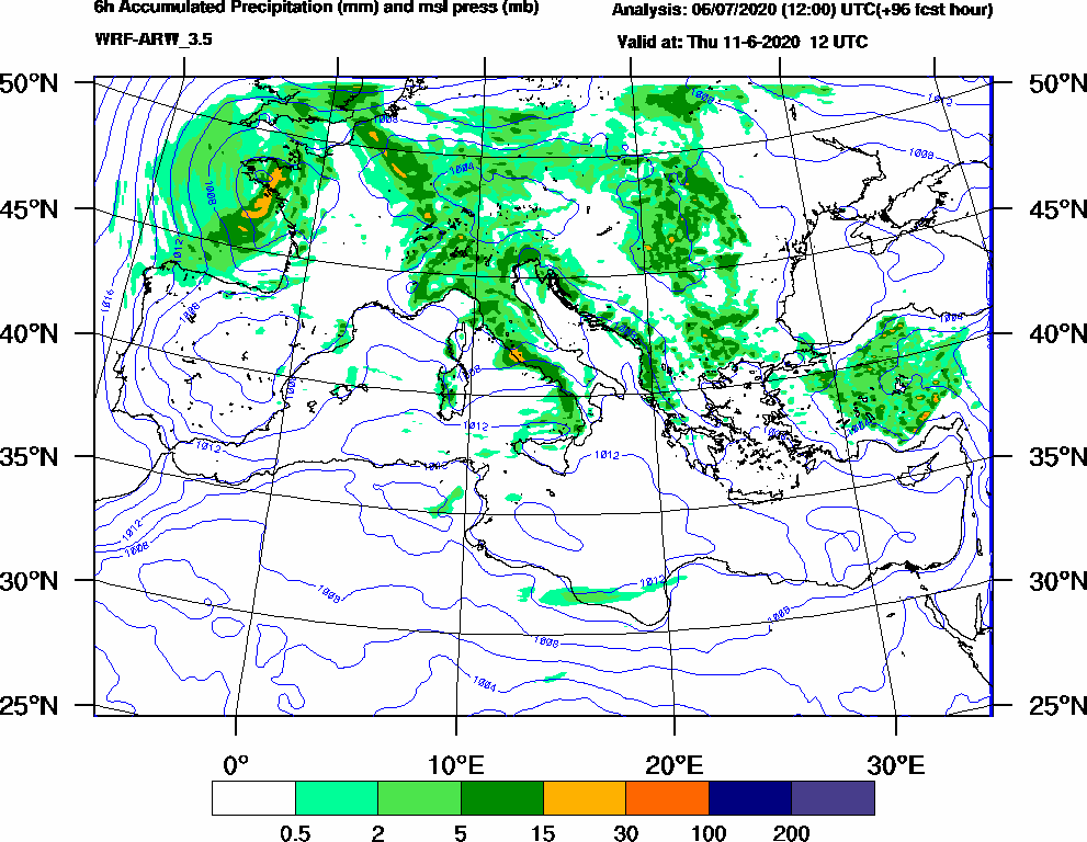 6h Accumulated Precipitation (mm) and msl press (mb) - 2020-06-11 06:00